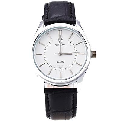 Watch-123 鉚釘鑲嵌刻度日曆精品商務手錶-黑帶白面/40mm
