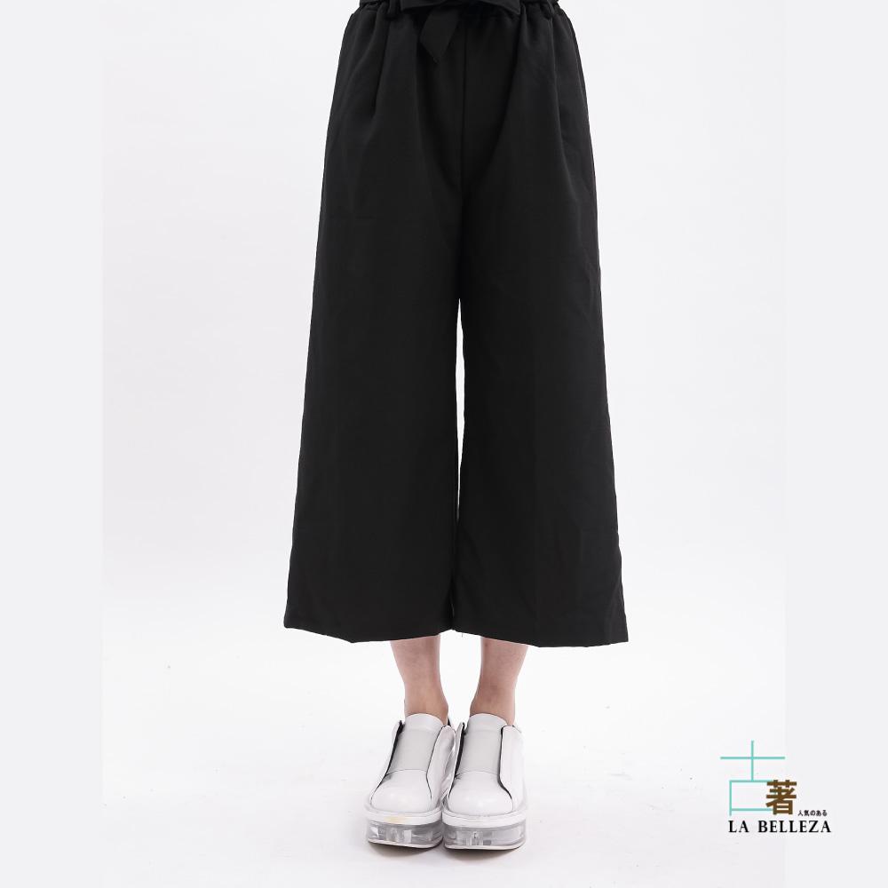 古著 綁帶黑色西裝布七分寬管褲-La Belleza