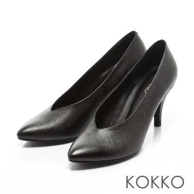 KOKKO - 復古經典尖頭牛皮V口高跟鞋-黑