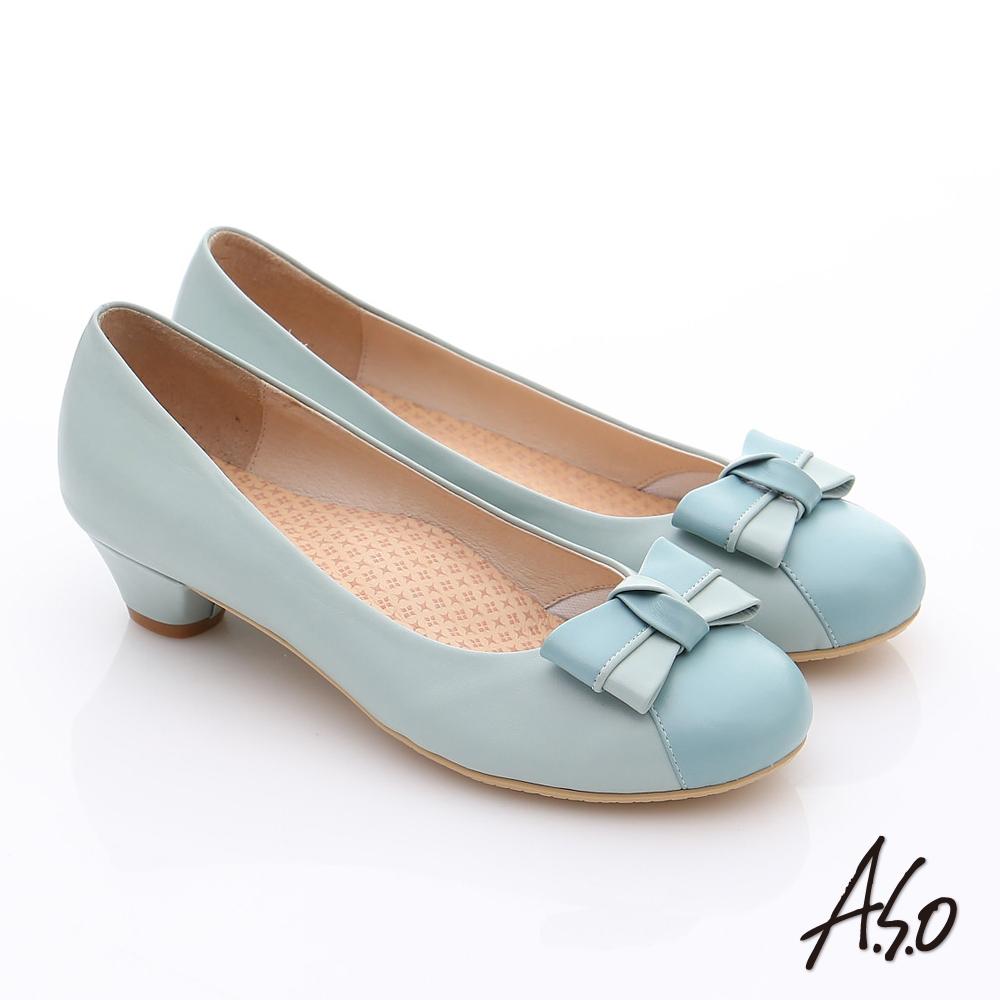 A.S.O 3E舒活寬楦 全真皮立體蝴蝶奈米低跟鞋 淺藍