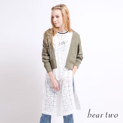 beartwo 蕾絲彩色刺繡開衩兩件式長上衣(二色)-動態show