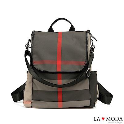 La Moda 輕旅行超輕量大容量防潑水2Way 肩背後背包(格紋)