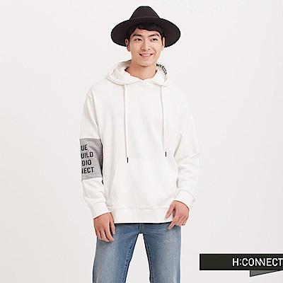 H:CONNECT 韓國品牌 男裝 - 設計拼接袖印字帽T - 白