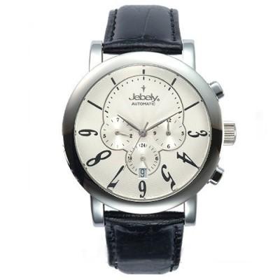 Jebely瑞士機械錶_聖莫里茲塔系列三眼造型-白/42mm