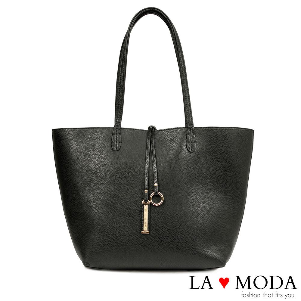 La Moda快時尚~經典品牌不敗款雙面正反兩用防水托特子母包(黑)
