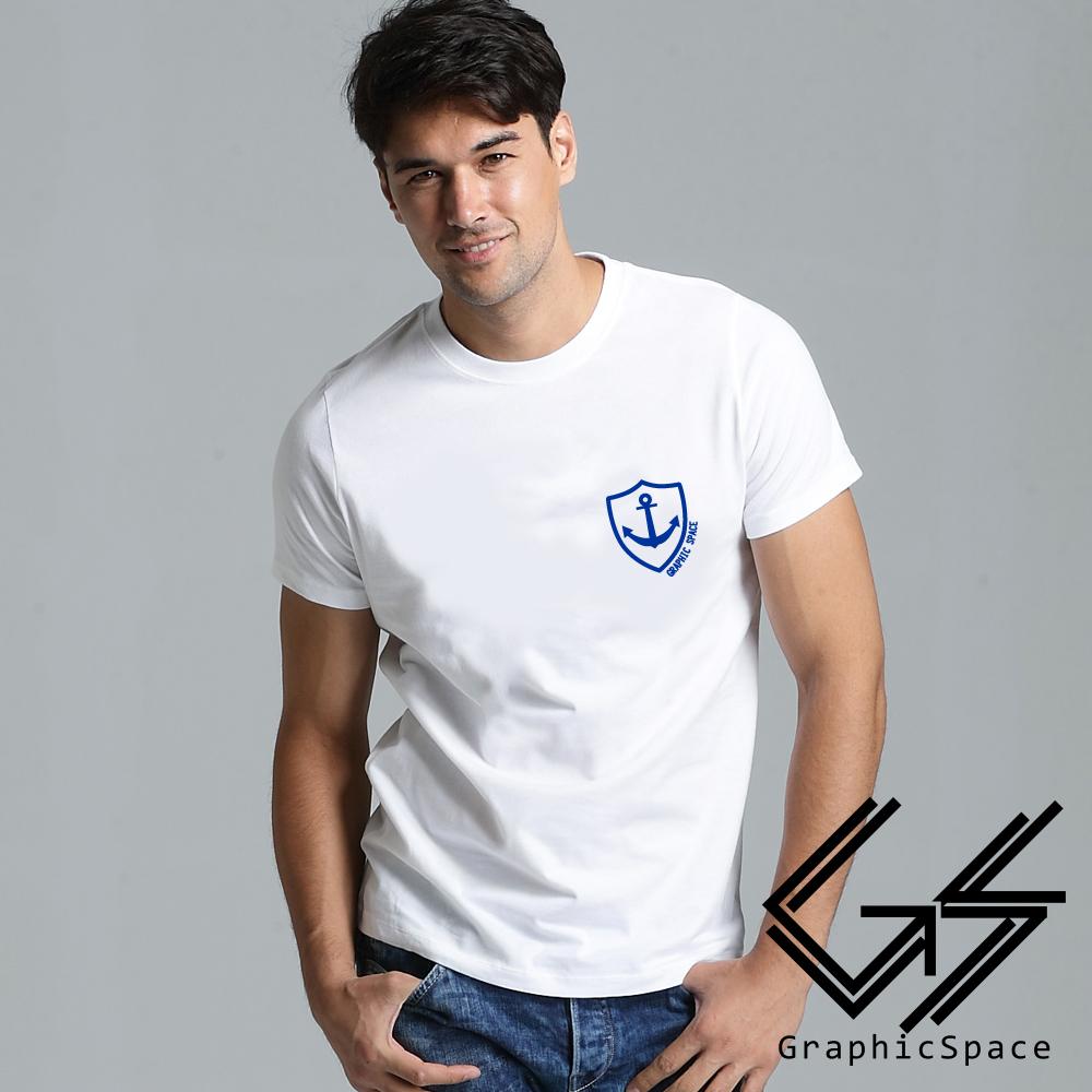 海軍風藍底船錨徽章磨毛水洗T恤 (白色)-GraphicSpace
