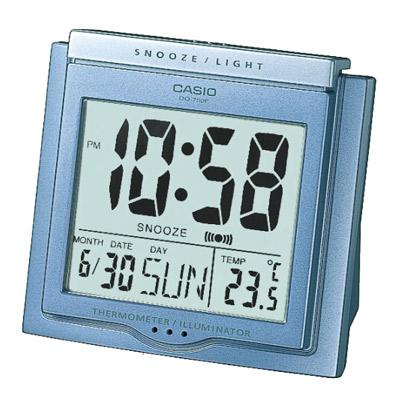 CASIO 測溫型數字電子鬧鐘(DQ-750F-2)-藍