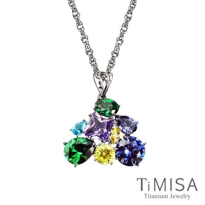 TiMISA《絢麗典藏-崇拜(藍綠)》純鈦項鍊(SB)