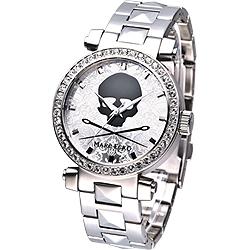 MARC ECKO 龐克戰士骷髏圖騰晶鑽腕錶-銀/38mm