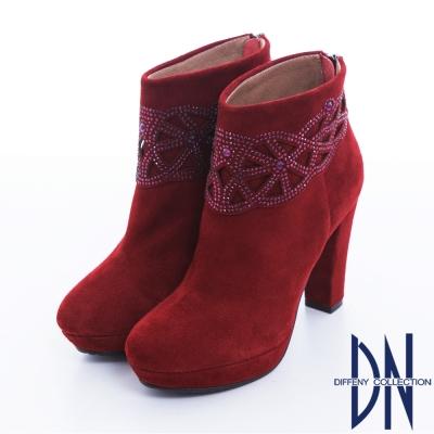 DN 摩登絢爛 高貴時尚絨皮閃鑽高跟短靴 紅