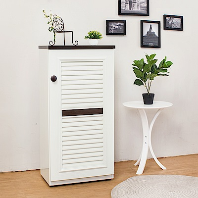Birdie南亞塑鋼-1.6尺單門百葉塑鋼收納鞋櫃(白+胡桃色)-49x35x100cm