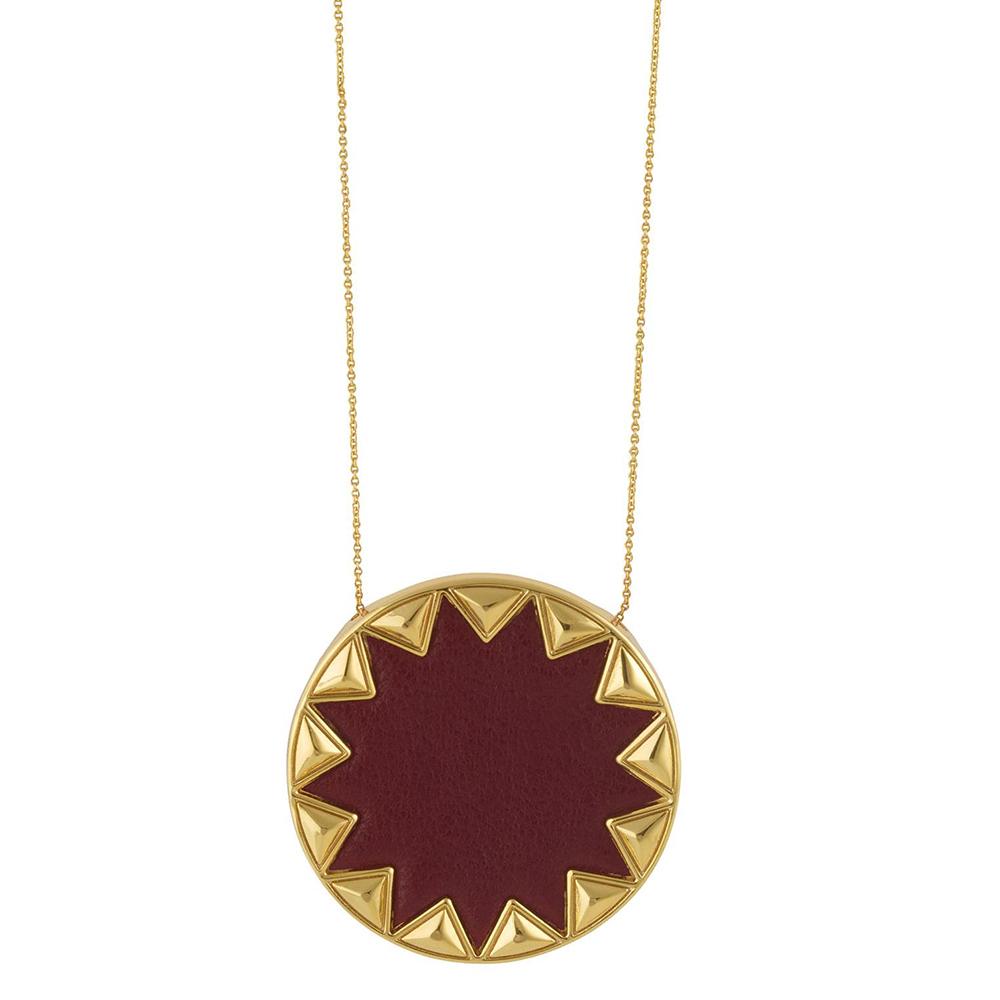 House of Harlow 1960 立體金字塔飾邊 圓形太陽金項鍊 深紅色皮革