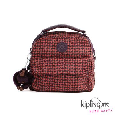 Kipling-後背包-深紅千鳥紋