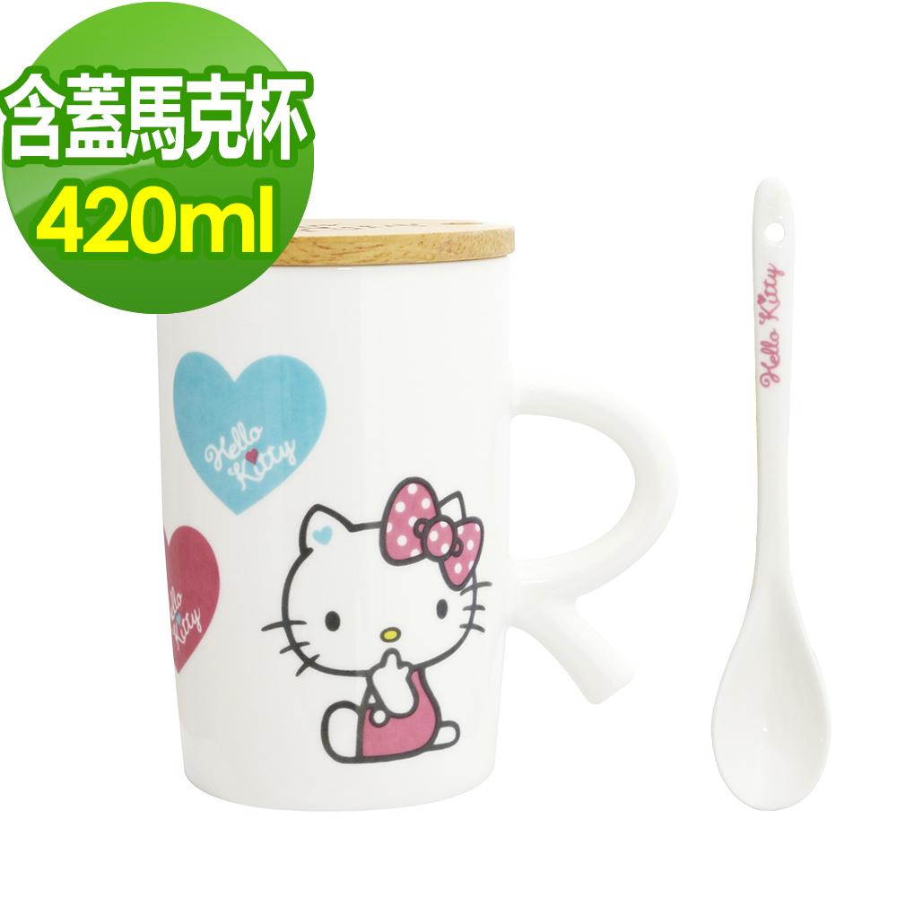 HELLO KITTY  夢想木蓋粉嫩馬克杯(附湯匙)-420ml