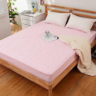JOY 花紋床包式專利雙人防水保潔墊-粉