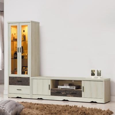 Bernice-菲爾8.2尺L型電視櫃-兩色可選-246x39x183cm