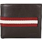 BALLY 經典條紋織帶八卡短夾(巧克力色)