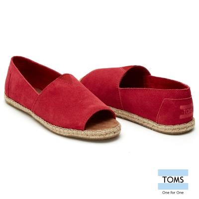 TOMS 露趾麂皮藤邊懶人鞋-女款(紅)