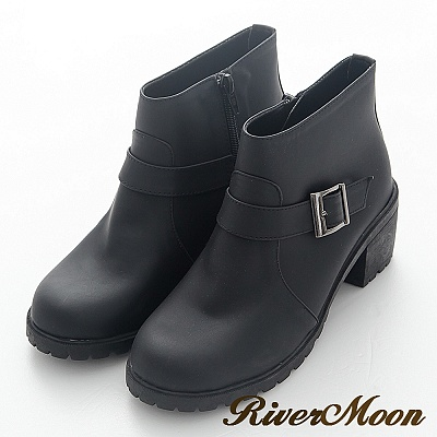 River&Moon短靴-台灣製百搭扣環側拉鍊短軍靴-黑色