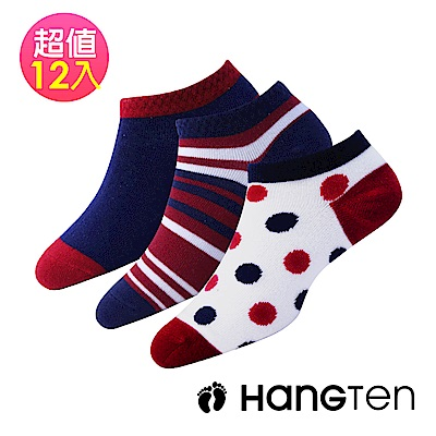 HANG TEN  設計款 英倫情人系列襪12雙超值組(HT-A21002)