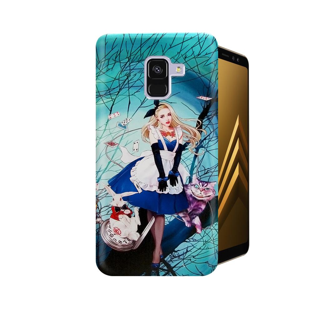 張小白 Samsung A8+(2018)古典奇幻插畫 滿版空壓保護殼(愛莉絲)