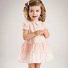 Dave Bella 粉紅雕花蕾絲短袖洋裝