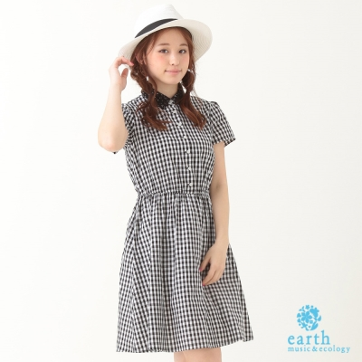 earth music&ecology 幾何蕾絲領格紋洋裝