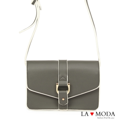 La Moda 設計感街頭Look 硬挺牛紋肩背郵差包(灰)