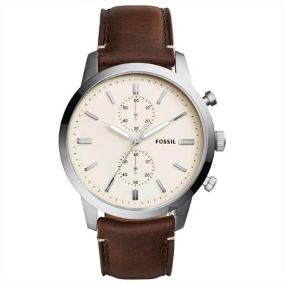 FOSSIL Townsman 城區計時手錶(FS5350)-米黃x咖啡色錶帶/45mm
