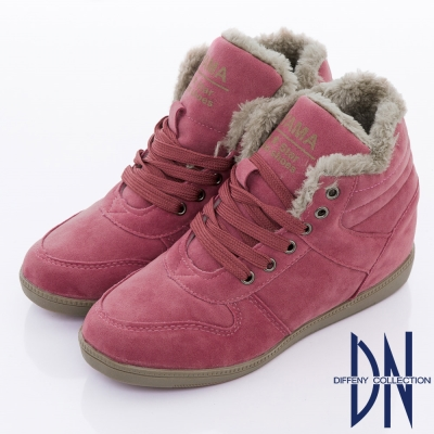 DN 運動潮流 簡約單色綁帶內增高休閒鞋 粉