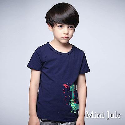 Mini Jule上衣 噴火立體尾巴恐龍短袖T恤(寶藍)