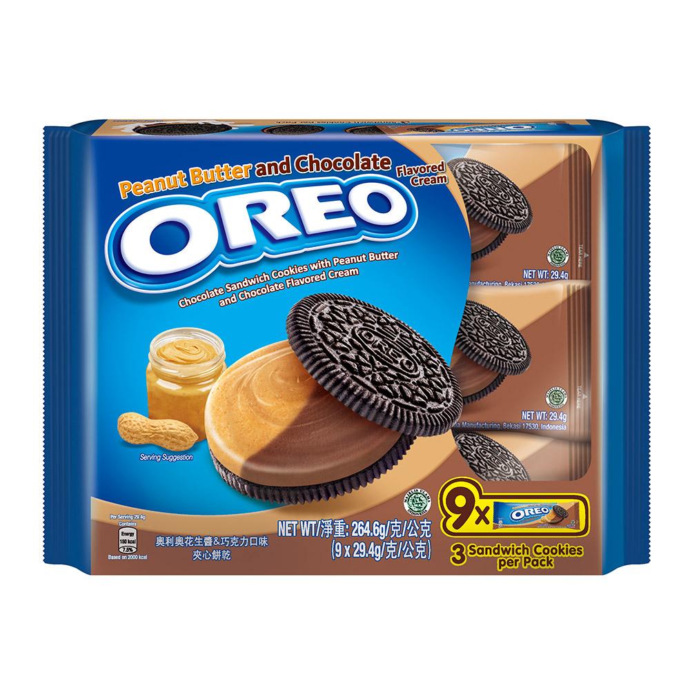 OREO奧利奧 花生醬&巧克力口味三明治隨手包(29.4gX9包)