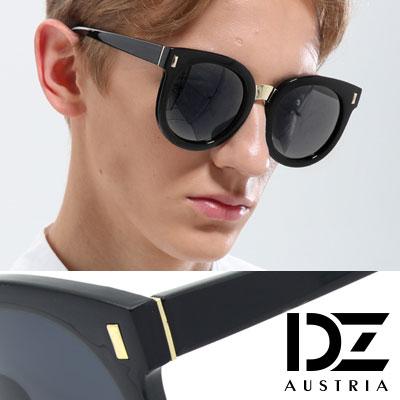 【2件59折】DZ 圓漾長錐菱釘 抗UV太陽眼鏡 墨鏡(黑框灰片)