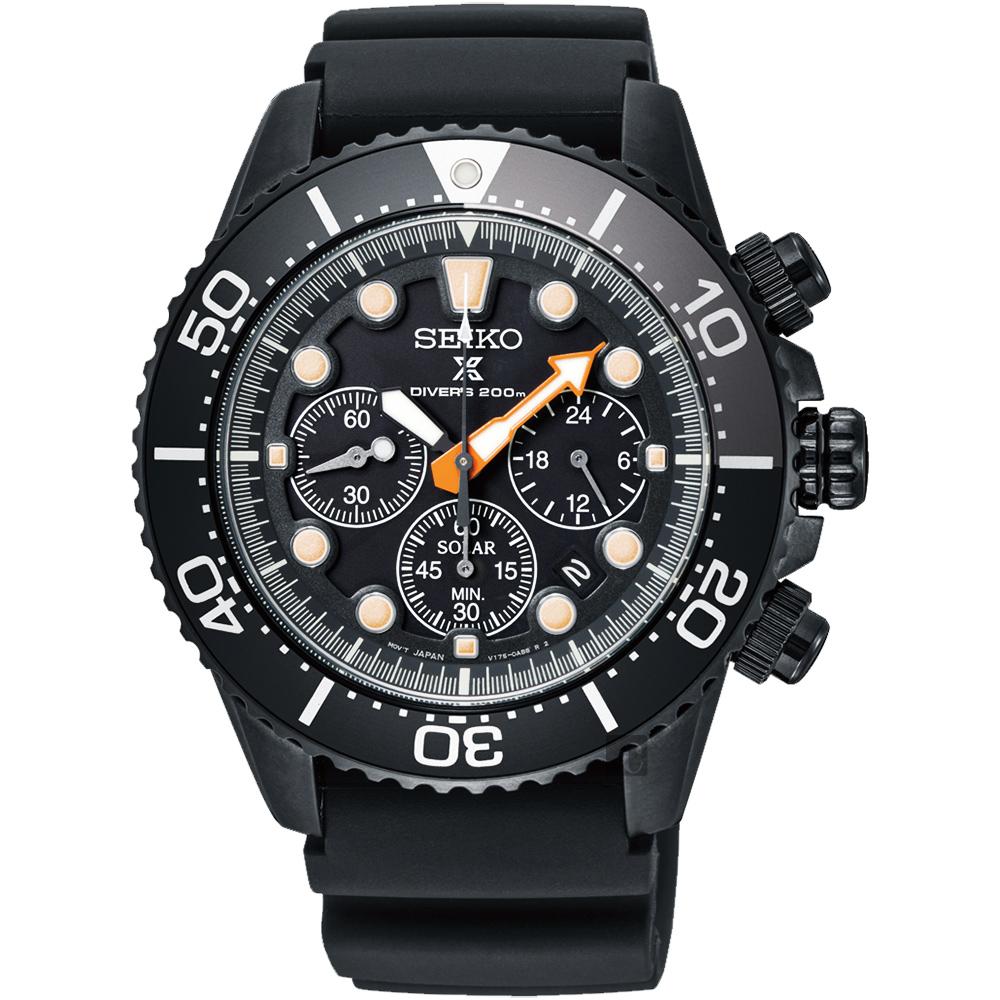 SEIKO精工 Prospex 太陽能計時限量錶(SSC673P1)-黑水鬼x43.5mm