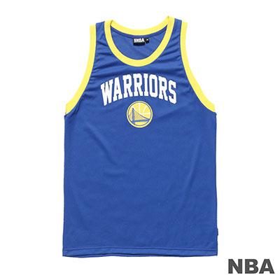 NBA-金州勇士隊印花窄肩運動背心-藍 (男)