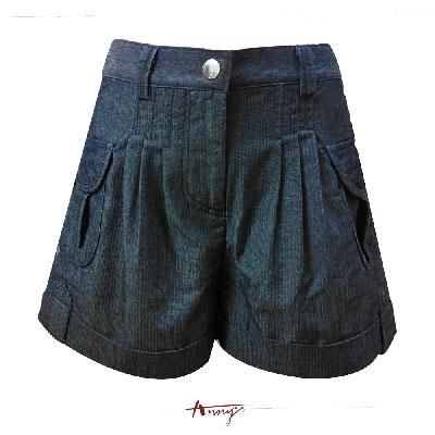 Annys紳士質感壓紋棉質口袋反摺短褲*1318藍