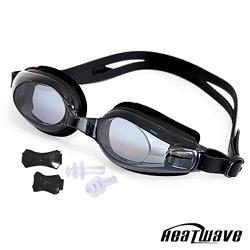 熱浪度數泳鏡-AQUASTAR 純矽膠防霧近視泳鏡(黑色)