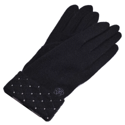 CLATHAS 優雅菱格反摺茶花logo刺繡羊毛手套(黑)
