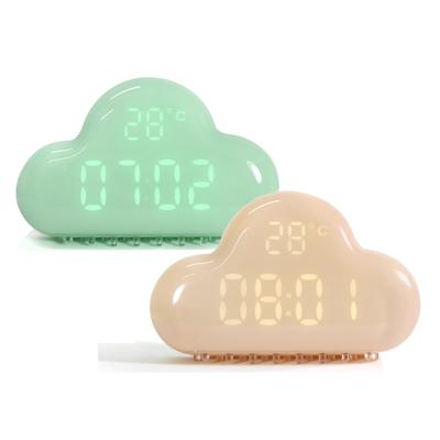 USB可愛雲朵磁吸床頭臥室客廳聲控智能感光貪睡日期充電電子鬧鐘 - 薄荷綠藕粉