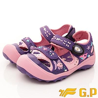 GP涼鞋 護趾磁扣涼鞋 SE610B-41紫(中小童段)