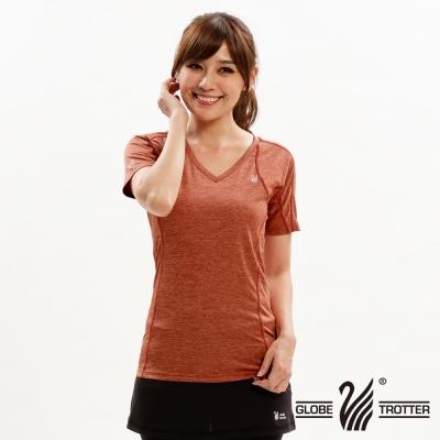 【遊遍天下】女款彈性吸排速乾激瘦V領衫GS20004桔色