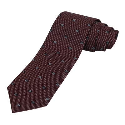 GUCCI 經典LOGO點狀紅底領帶(白字)