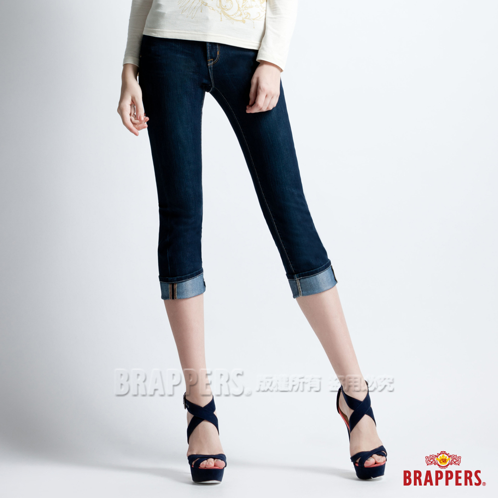 BRAPPERS 女款 新美腳Royal系列-女用彈性鑲鑽七分反摺褲-深藍