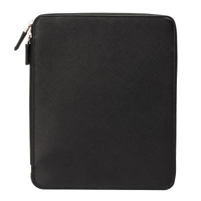 PRADA-Saffiano-Travel經典防刮牛皮iPad拉鍊式多功能保護套-黑