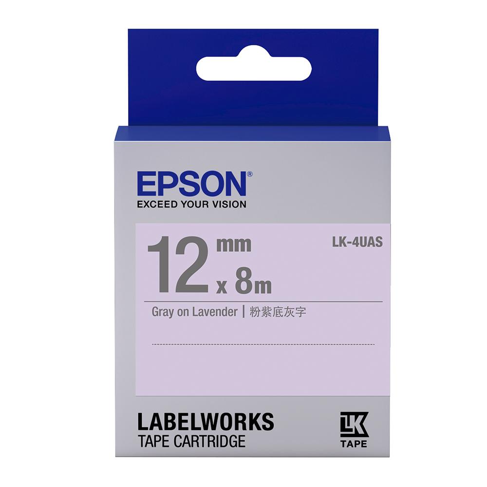 EPSON C53S654414 LK-4UAS淡彩系列淡紫底灰字標籤帶(寬度12mm)