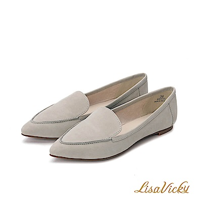 LisaVicky羊皮舒適尖頭平底鞋-灰色