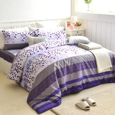 美夢元素 天鵝絨單人三件式 全鋪棉兩用被床包組-葉葉生輝