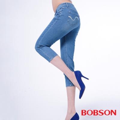 BOBSON   女款高腰膠原蛋白彩色七分褲-藍色