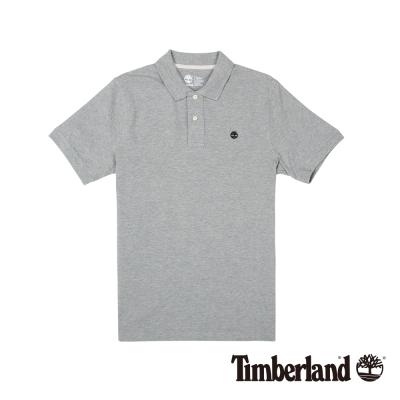 Timberland 男款灰色棉質刺繡短袖POLO衫
