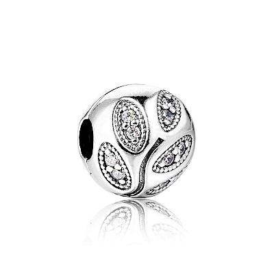 Pandora 潘朵拉 圓形葉子鑲鋯 純銀墜飾 串珠